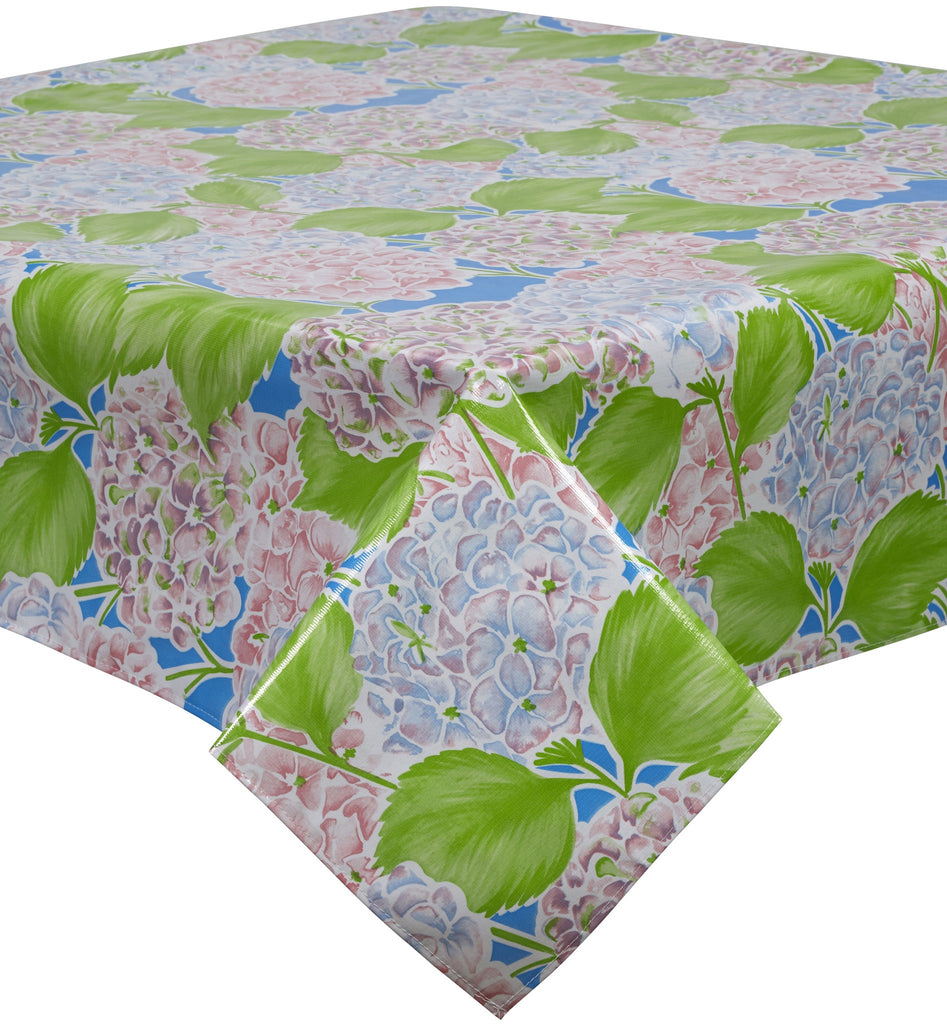 Freckled Sage Oilcloth Tablecloth Hydrangea Blue