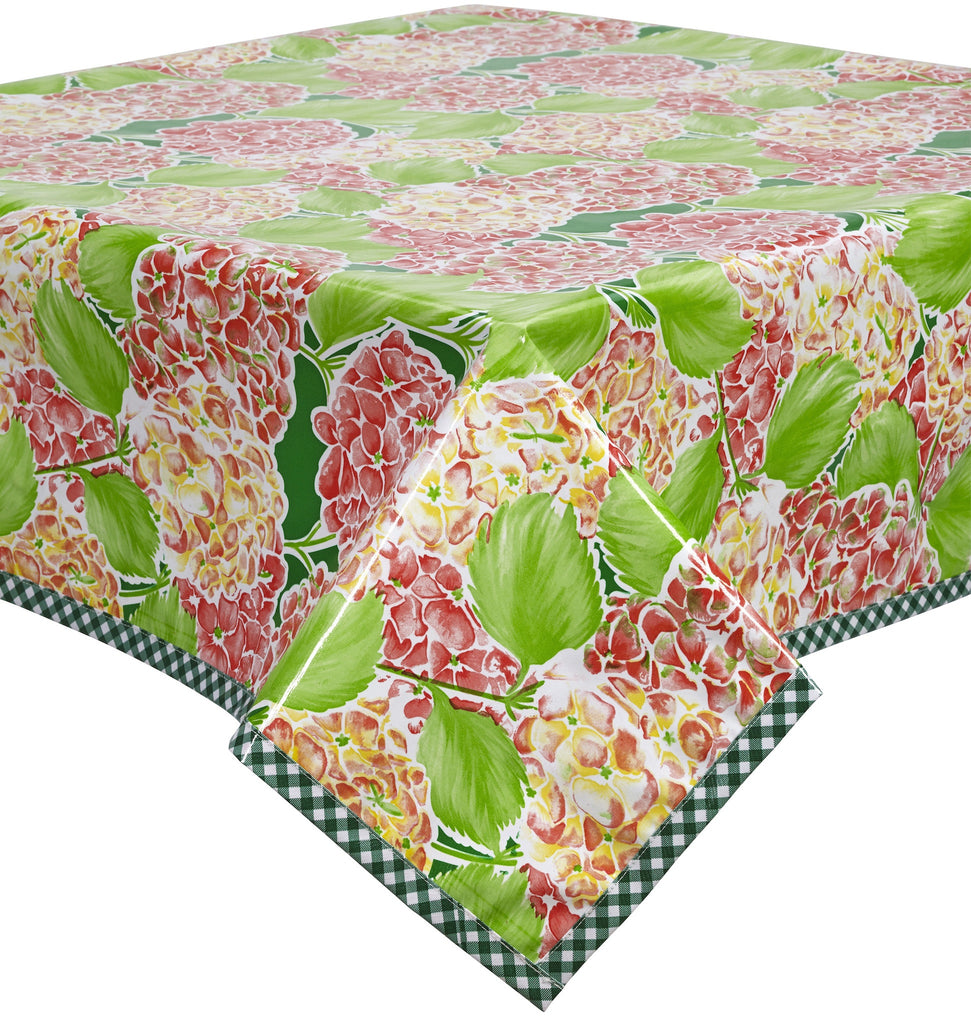 Freckled Sage Oilcloth Tablecloth Hydrangea Green
