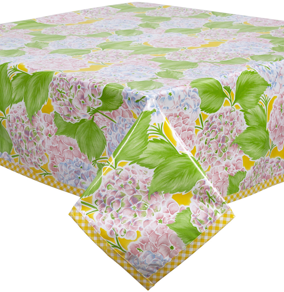 Freckled Sage Oilcloth Tablecloth Hydrangea Yellow