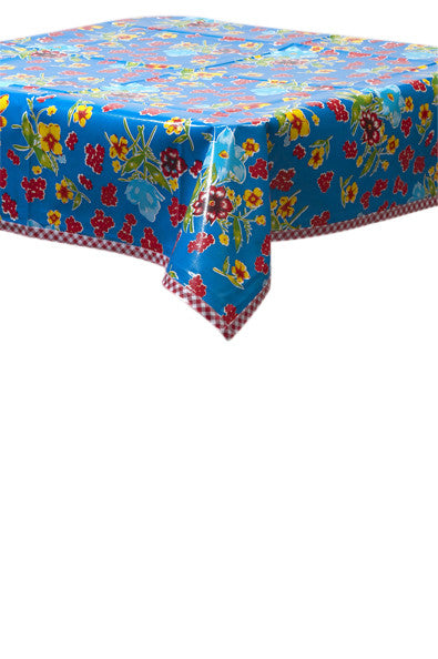 Istanbul Blue Oilcloth Tablecloth with Red Gingham Trim