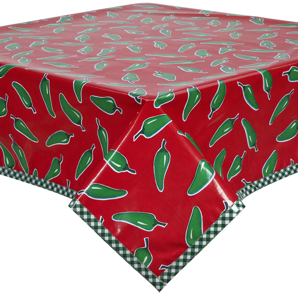 Freckled Sage Oilcloth Tablecloth Jalapeno on Red