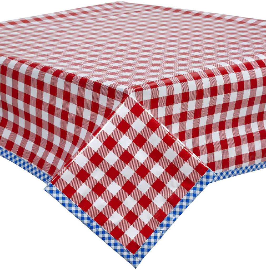Freckled Sage Oilcloth Tablecloth Red Buffalo Check GIngham