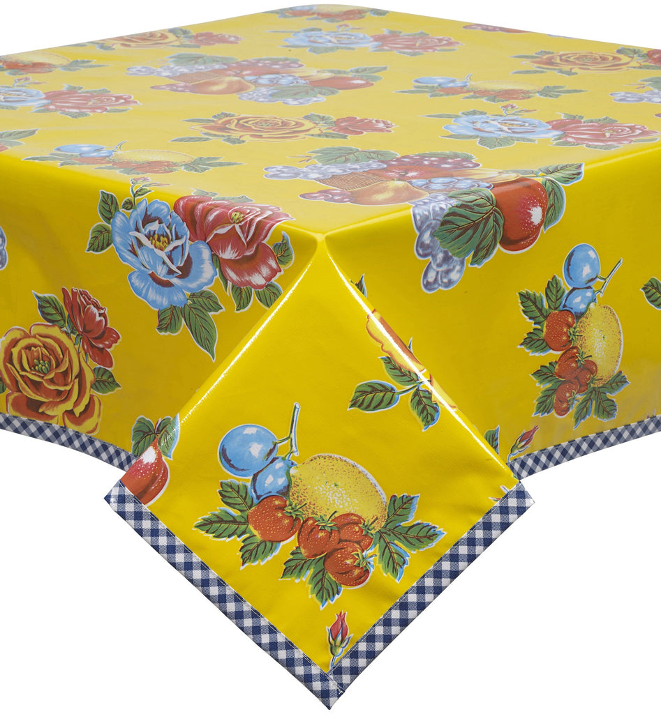 Freckled Sage Oilcloth Tablecloth Lemons and Roses Yellow