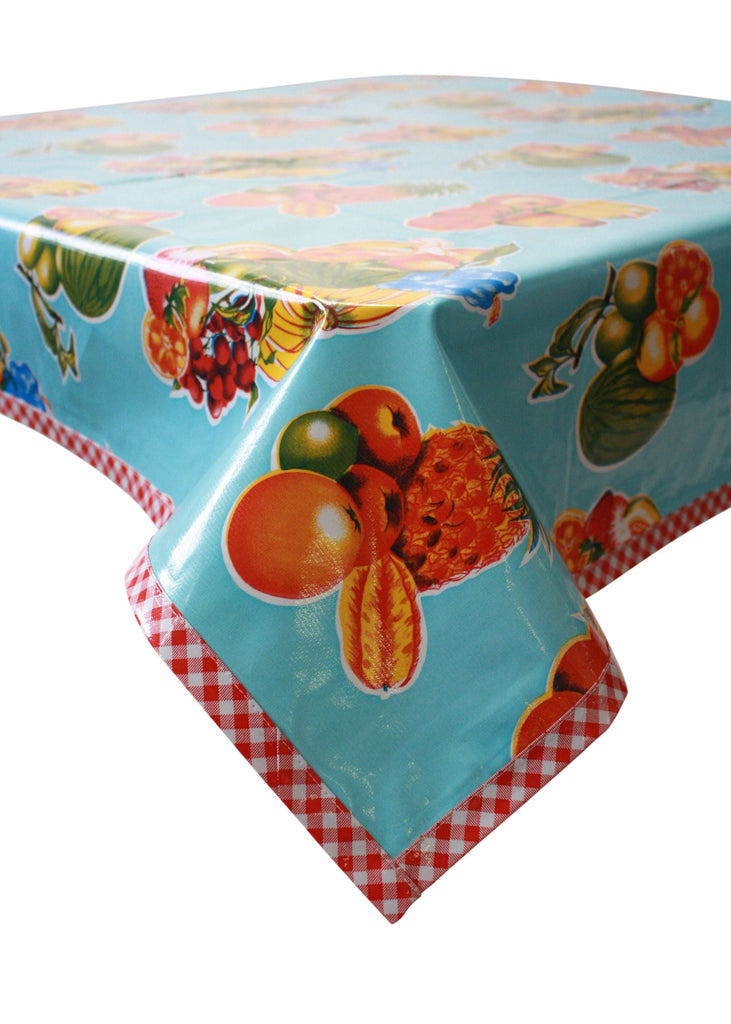 Tropical Fruit Light Blue Oilcloth Tablecloth with Red Gingham Trim
