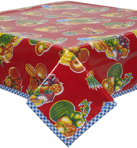 Freckled Sage Oilcloth Tablecloth Mixed Fruit Red