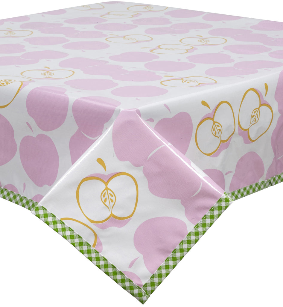 Freckled Sage Oilcloth Tablecloth Mod Apple Pink