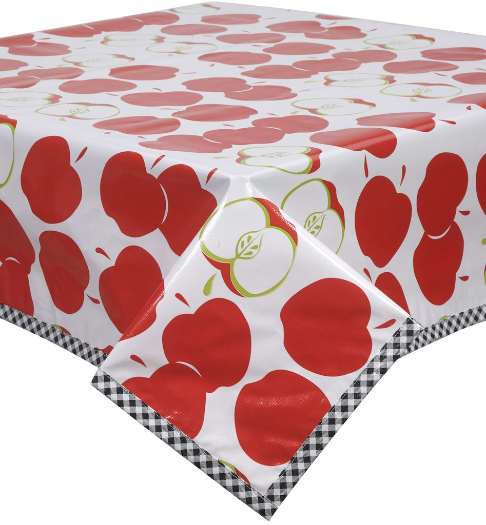 Freckled Sage Oilcloth Tablecloth Mod Apple Red