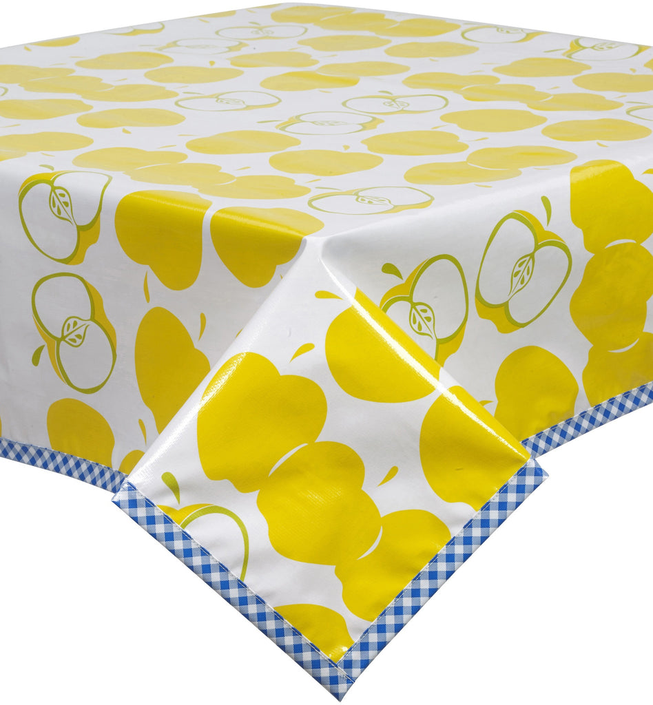 Freckled Sage. Mod Apple Yellow Oilcloth Tablecloth With Blue ...