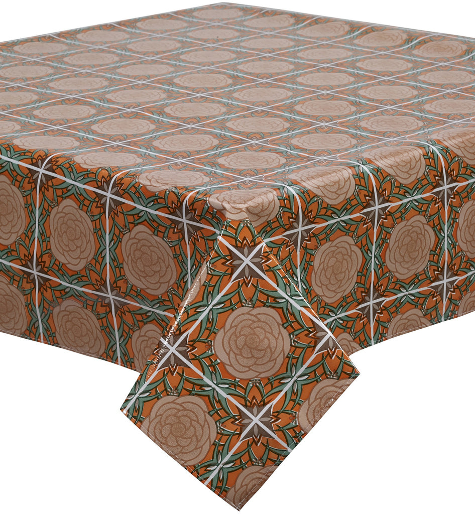 Freckled Sage Oilcloth Tablecloth Mosaic Orange Brown