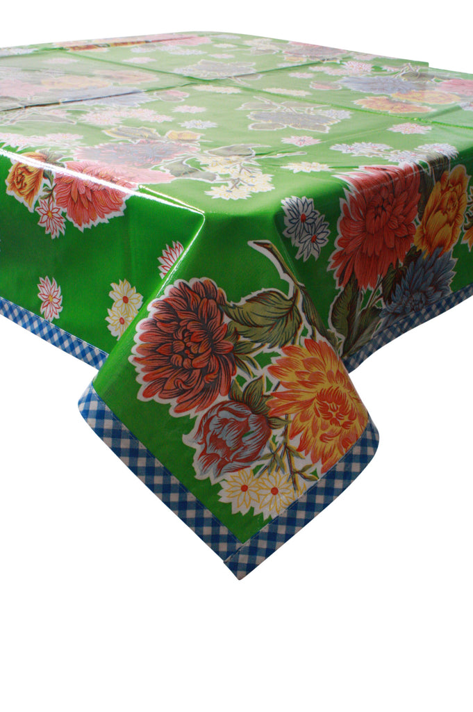 Mum Green Oilcloth Tablecloth with Blue Gingham Trim