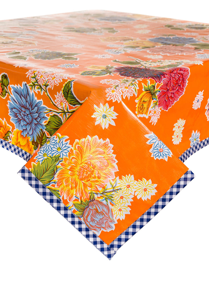 Mum Orange Oilcloth Tablecloth with Navy Gingham Trim