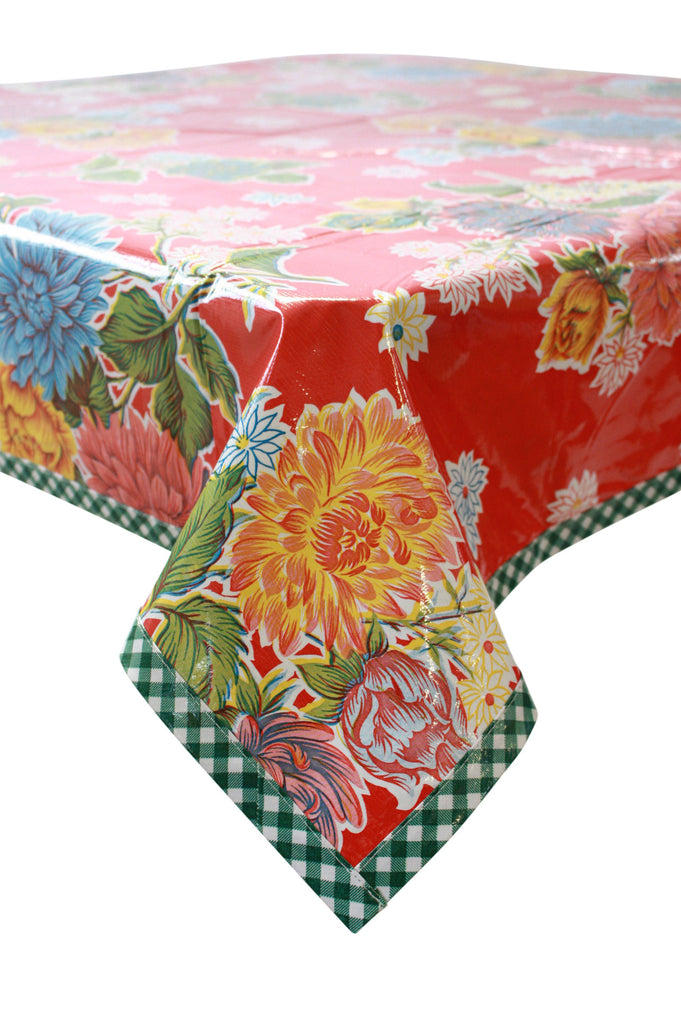 Mum Red Oilcloth Tablecloth with Green Gingham Trim