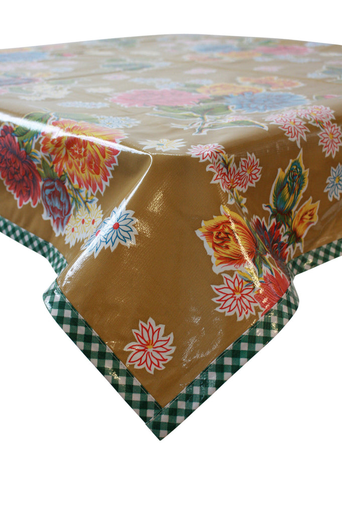 Mum Tan Oilcloth Tablecloth with Green Gingham Trim