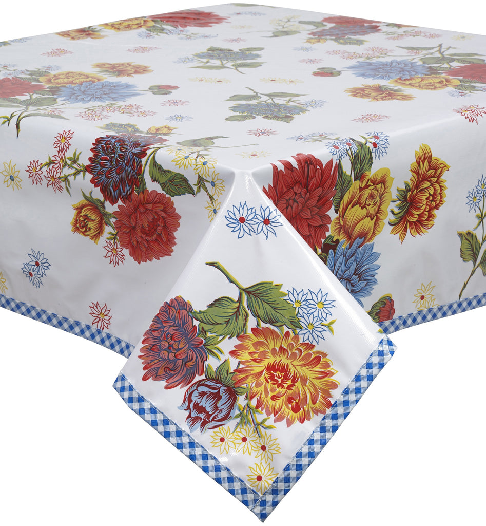 Freckled Sage Oilcloth Tablecloth Mum White