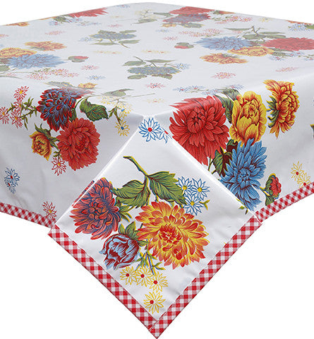 Mum White Oilcloth Tablecloth with Red Gingham Trim