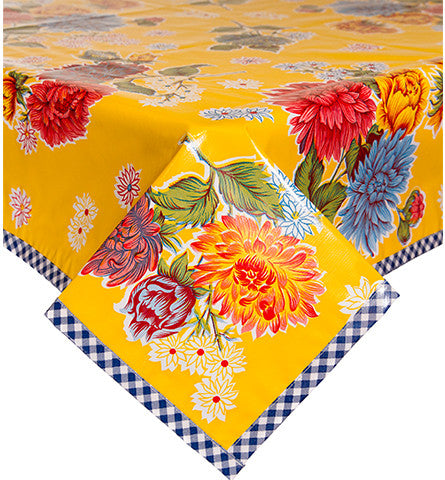 Mum Yellow Oilcloth Tablecloth with Navy Gingham Trim