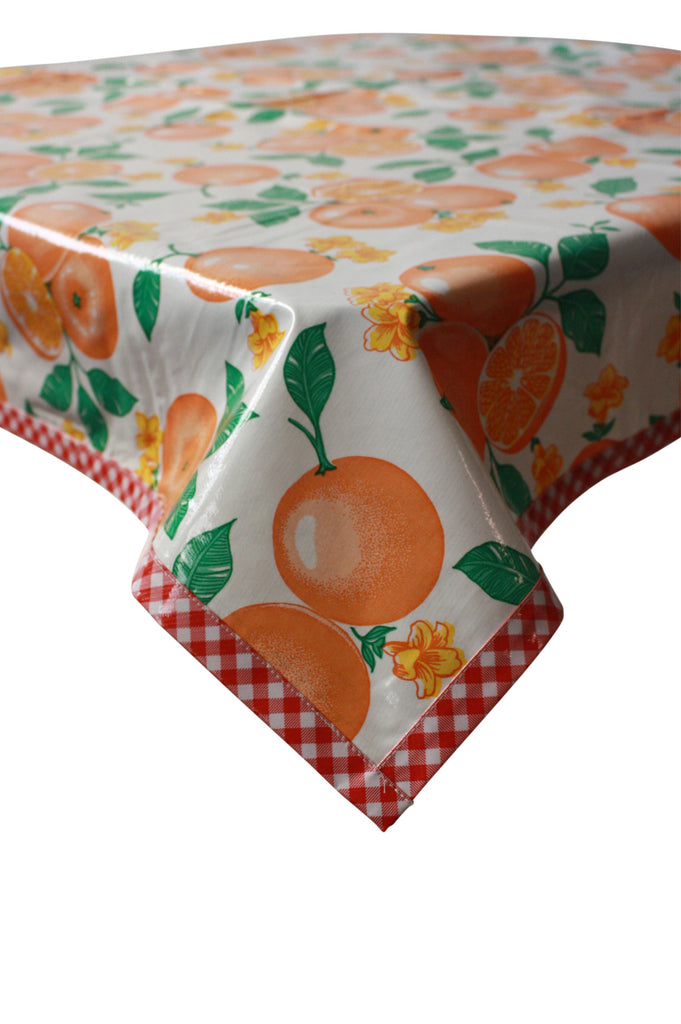 Oranges White Oilcloth Tablecloth with Red Gingham Trim