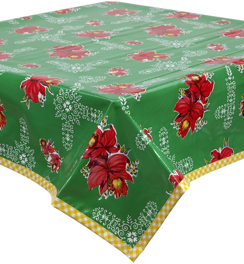 Freckled Sage Oilcloth Tablecloth Orchid Green