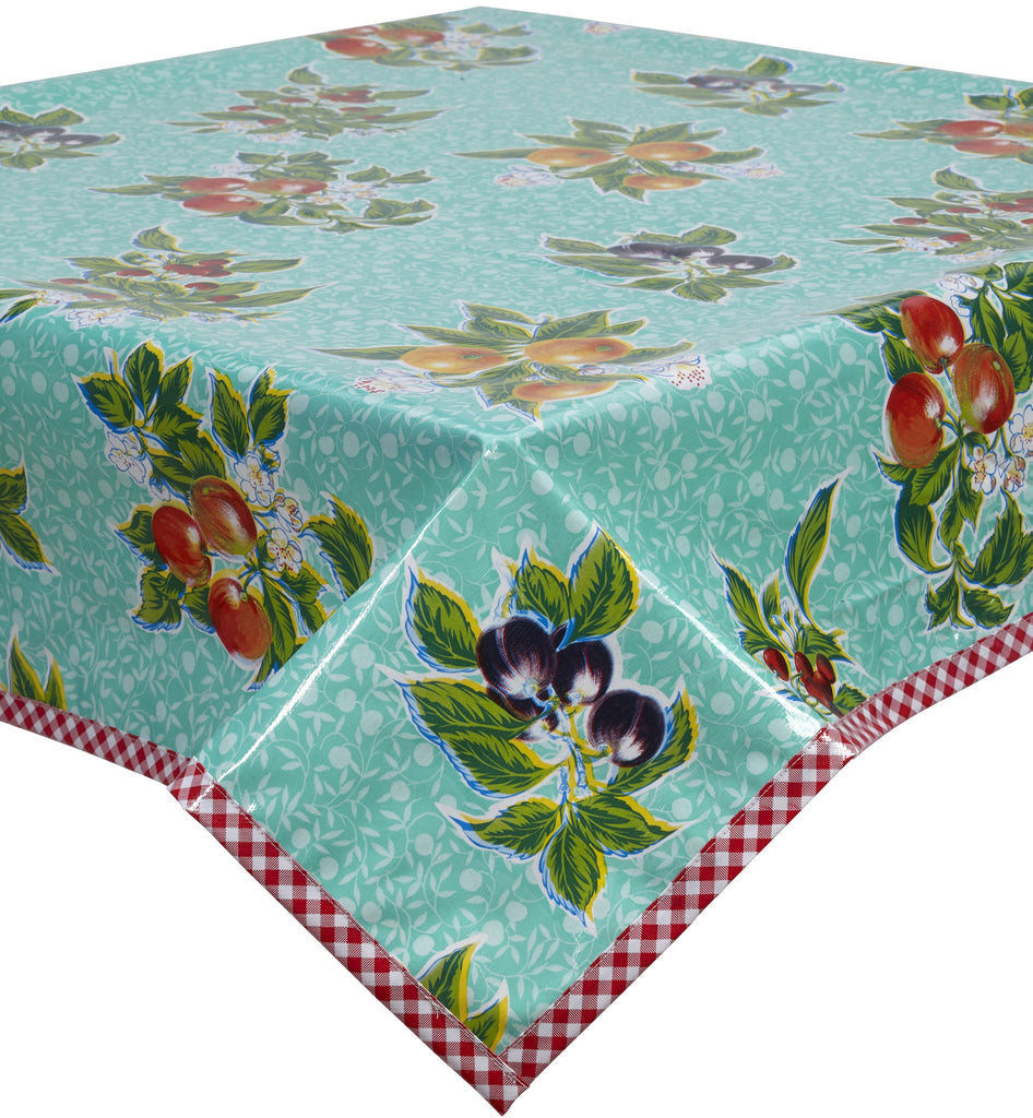 Freckled Sage Oilcloth Tablecloth Plum Aqua