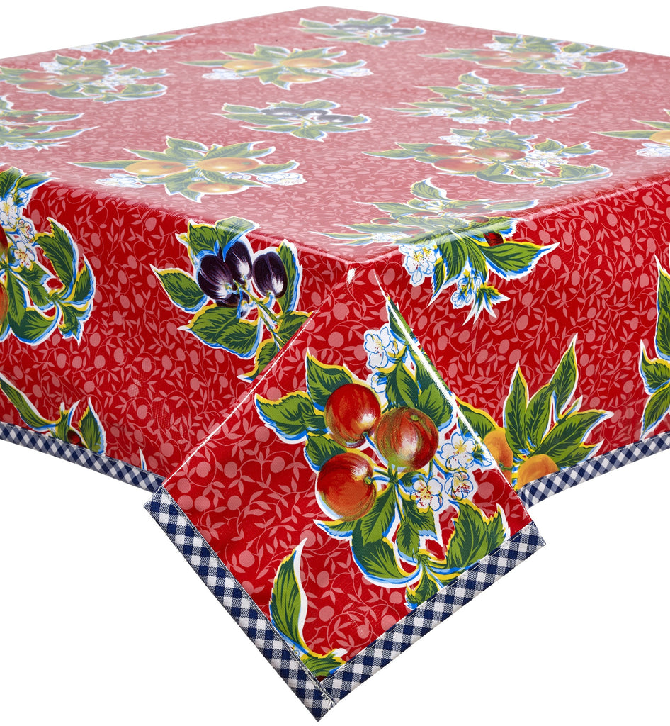 Freckled Sage Oilcloth Tablecloth Plum Red