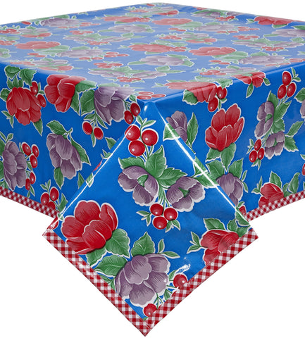 Freckled Sage Oilcloth Tablecloth Poppy Blue