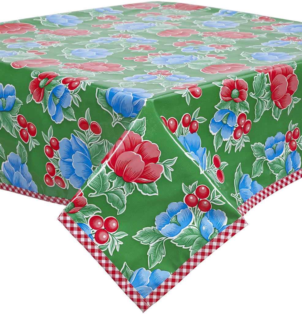 Poppy Green Oilcloth Tablecloth with Red Gingham Trim