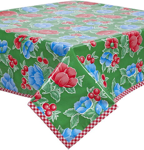 Slightly Imperfect 48 x 72 Poppy Green Oilcloth Tablecloth with Red Gingham Trim