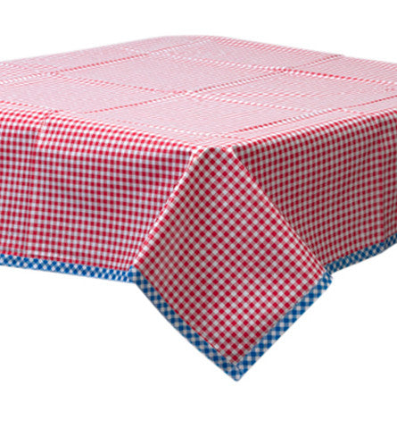 Gingham Red Oilcloth Tablecloth with Blue Gingham Trim