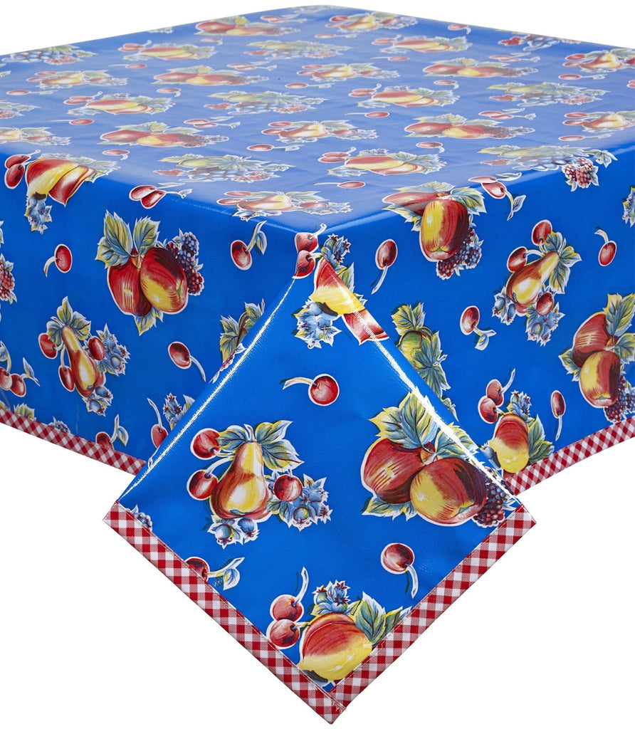 Retro Blue Oilcloth Tablecloth with Red Gingham Trim You Pick the Size