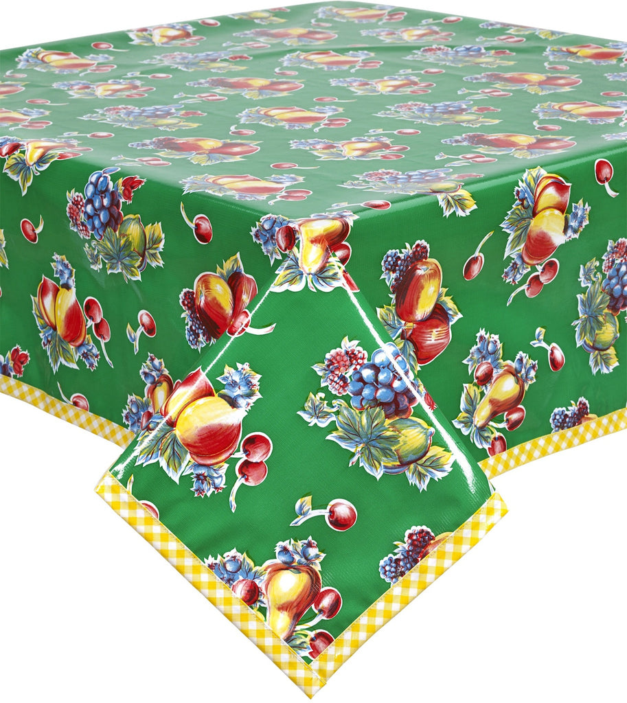 Retro Green with Yellow Gingham Trim Oilcloth Tablecloth You pick the Size
