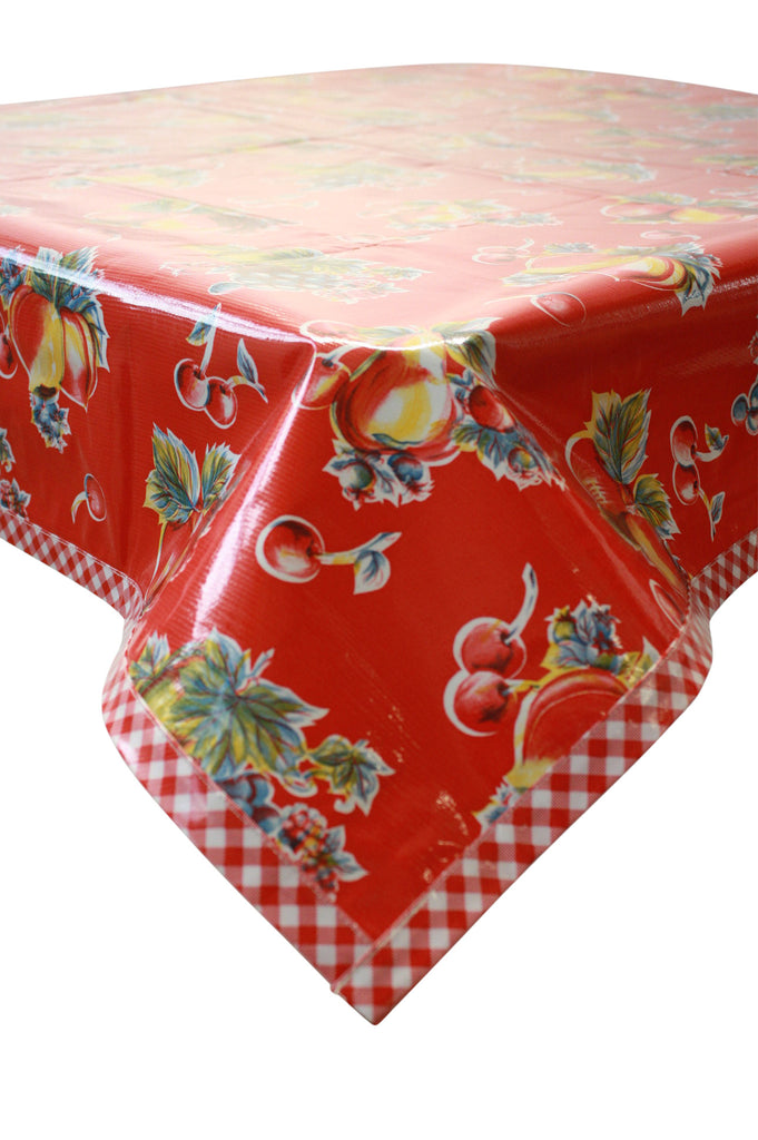 Retro Red Oilcloth Tablecloth with Red Gingham