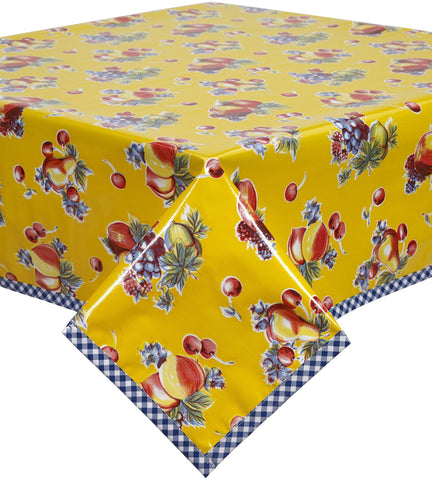 Retro Yellow Oilcloth Tablecloth with Navy Gingham Trim You Pick the Size