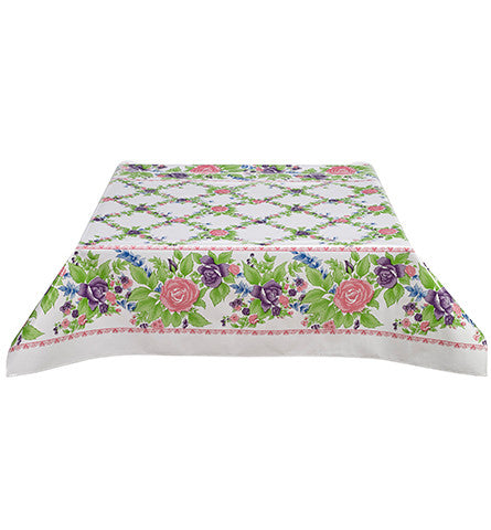 Rose Vine Pink Oilcloth Tablecloth