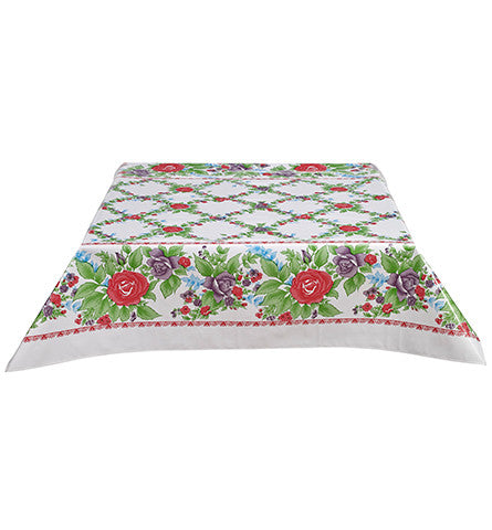Rose Vine Red Oilcloth Tablecloth
