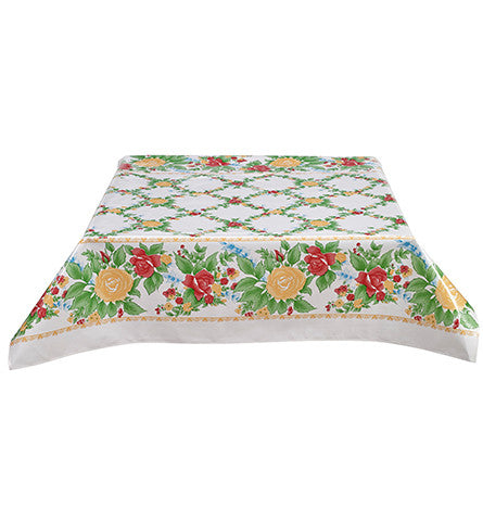 Rose Vine Yellow Oilcloth Tablecloth