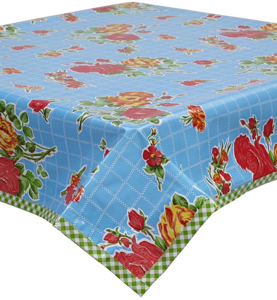 Rose and Grid Light Blue Oilcloth Tablecloth with Lime Gingham Trim