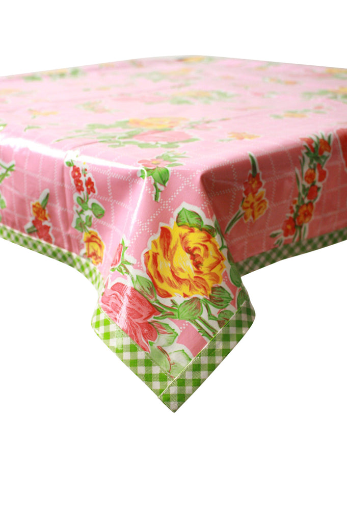 Rose and Grid Pink Oilcloth Tablecloth with Lime Gingham Trim