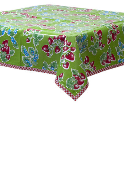 Strawberry Green Oilcloth Tablecloth with Red Gingham Trim