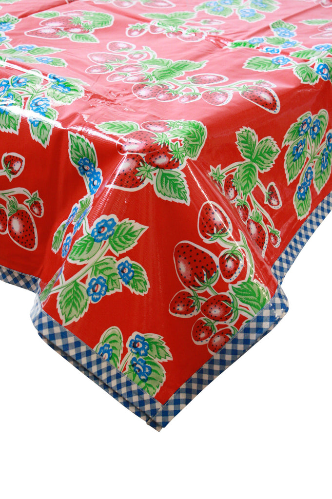 Strawberry Red Oilcloth Tablecloth with Navy Gingham Trim