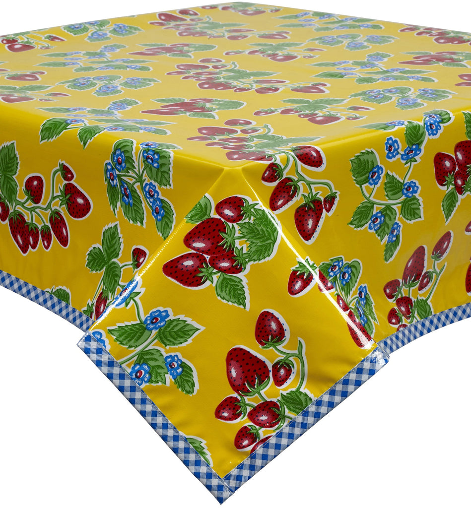 Freckled Sage. Strawberry Yellow Oilcloth Tablecloth With Blue ...