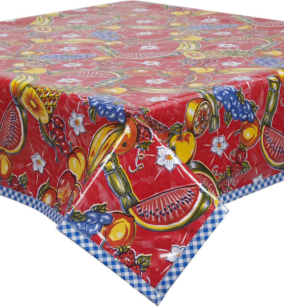 Freckled Sage Oilcloth Tablecloth Sugarcane Red