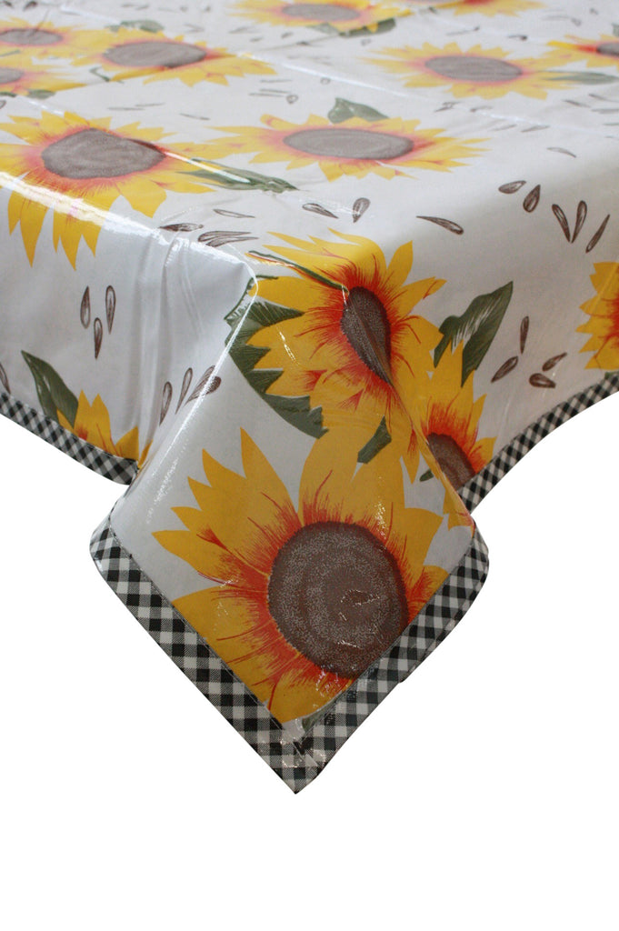 "Slightly Imperfect 56 x 73"" Sunflowers Oilcloth Tablecloth"