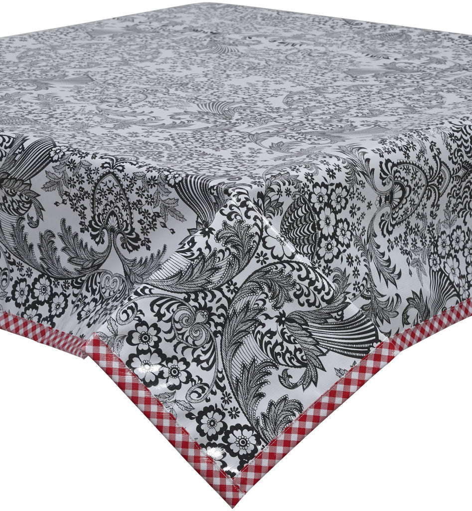 Freckled Sage Oilcloth Tablecloth Black Toile Red Trim