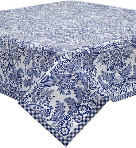 Freckled Sage Oilcloth Tablecloth Blue Toile