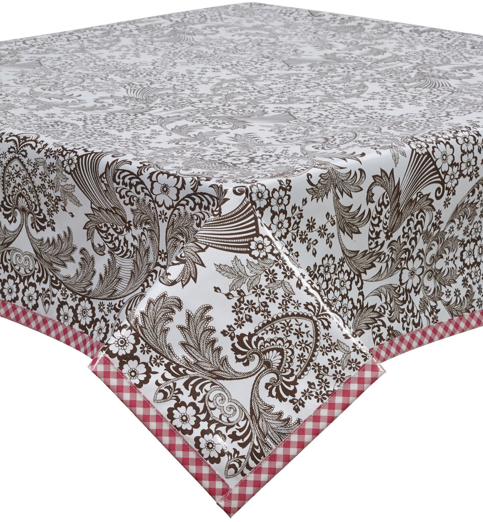 Freckled Sage Oilcloth Tablecloth Brown Toile