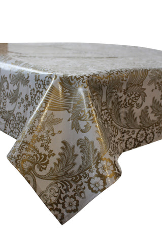 Toile Gold Oilcloth Tablecloth with Simple Hem