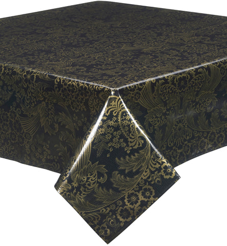 Freckled Sage Oilcloth Tablecloth Gold on Black Toile