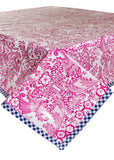 Toile Pink with Navy Gingham Trim Oilcloth Tablecloth