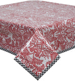 Freckled Sage Oilcloth Tablecloth Red Toile with Black Gingham Trim
