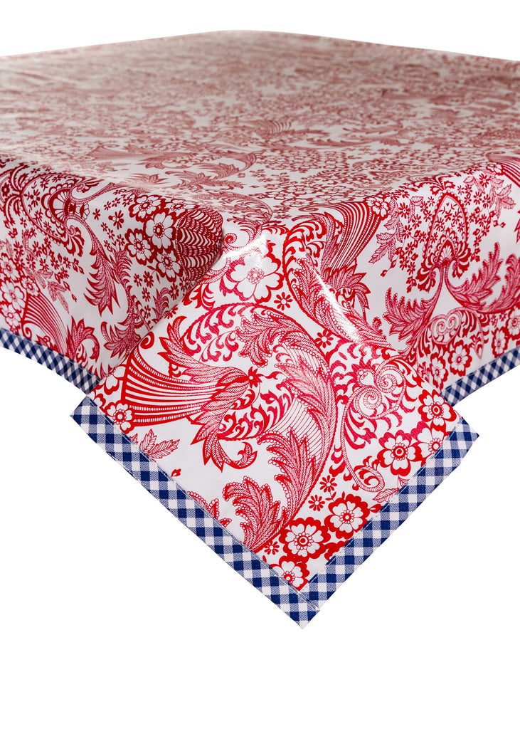 Toile Red Oilcloth Tablecloth with Blue Trim